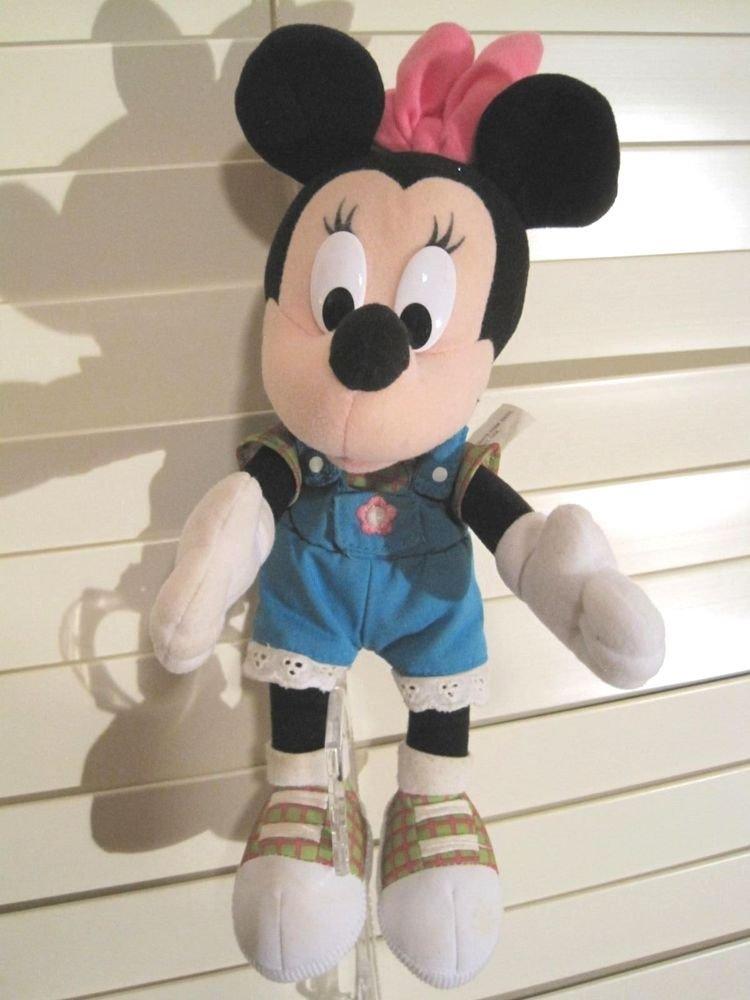 "Rare Minnie Mouse Blue Overalls Plush Talking Doll Disney 12"" inch Lace Trim"