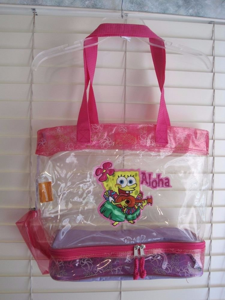 Spongebob Aloha Clear Plastic Jelly Tote Beach Bag Shopping Shoulder USA Seller