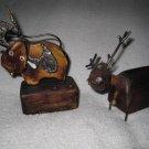 Thai Wood Carved Pewter Buffalo Pen/Pencil & Deer Business Card Set Desk 2 Pc