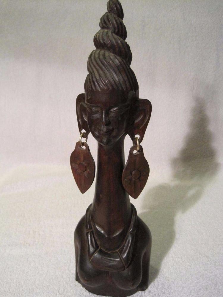 "African Carved Elongated Neck Woman Topless Figure Sculpture Long Giraffe 12"" in"
