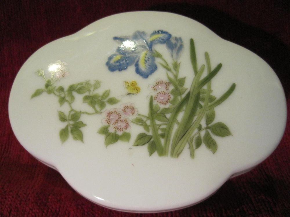 Takahashi Trinket Box San Francisco Hand Painted Flowers Vintage