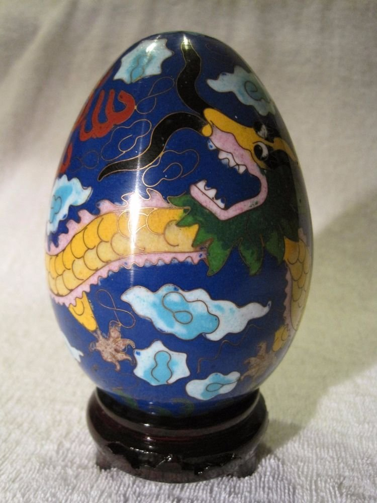 Vintage Large Cloisonne Egg Gold Dragon Enamel Brass Yi Lin Arts Treasures China