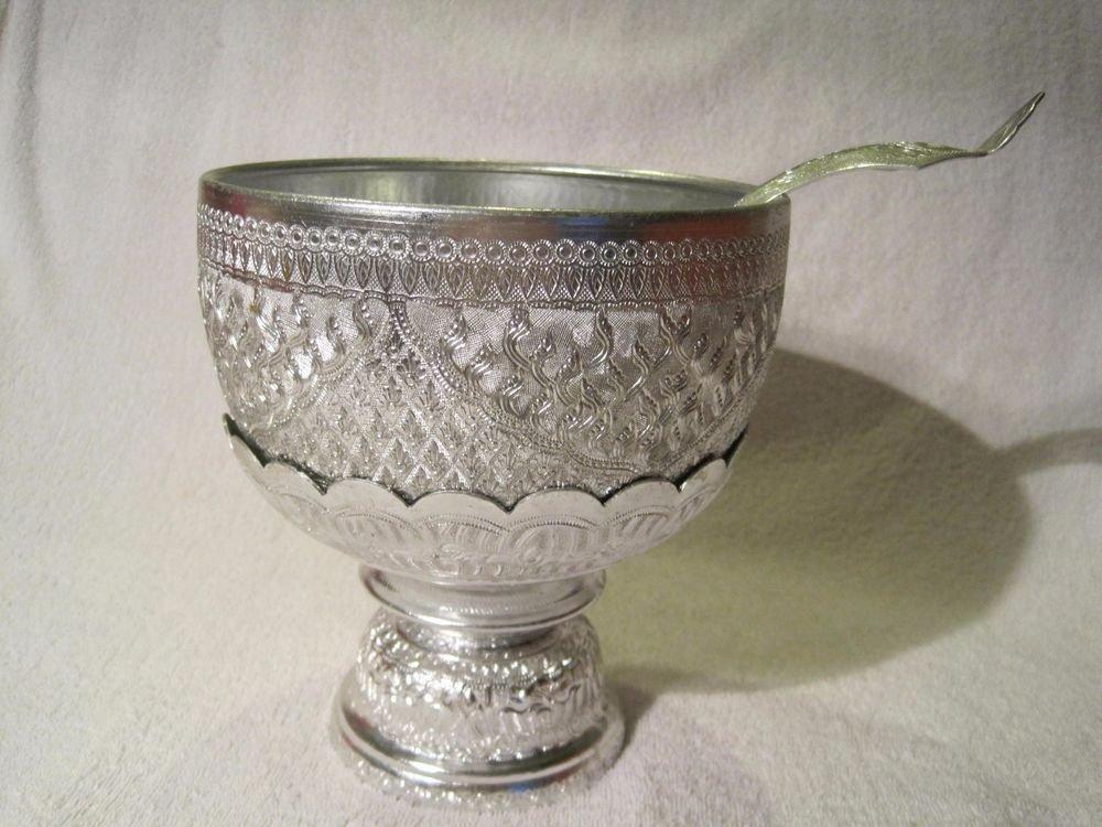 Thai Aluminium Soup Bowl Set Pedestal Stand Spoon Traditional Water Serving