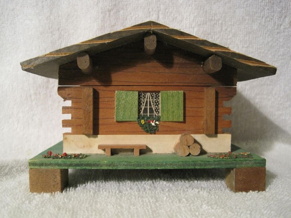Vintage Swiss Chalet Wooden Music Box Jacques Cuendet #962 Blue Danube House