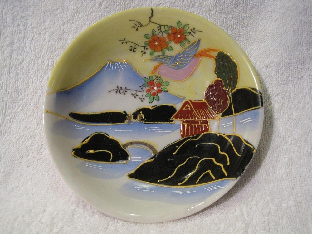 Plate Saucer Dish Handpainted Mt Fuji Water Landscape Raised Paint Japan