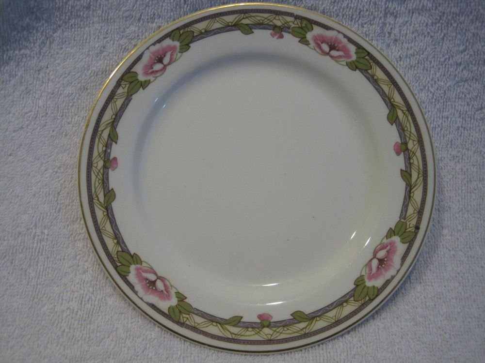 Johnson Bros England Bread Dessert Plate Pink Roses Green Leaves Gold Rim