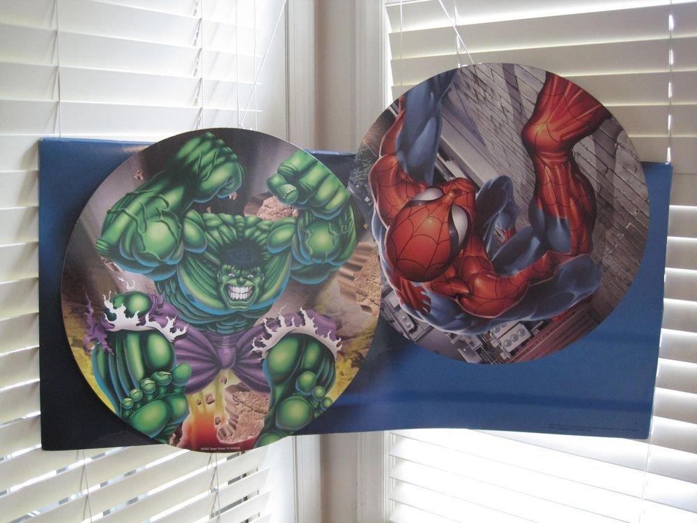 Rare Hulk Spiderman Avengers Superman Batman Marvel/DC Double Sided Sign