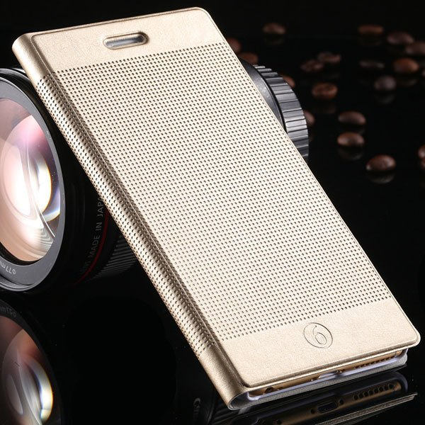 Popular Grid Structure Flip Wallet Shell For Iphone 6 Plus 5.5Inch 32214571519-12-gold