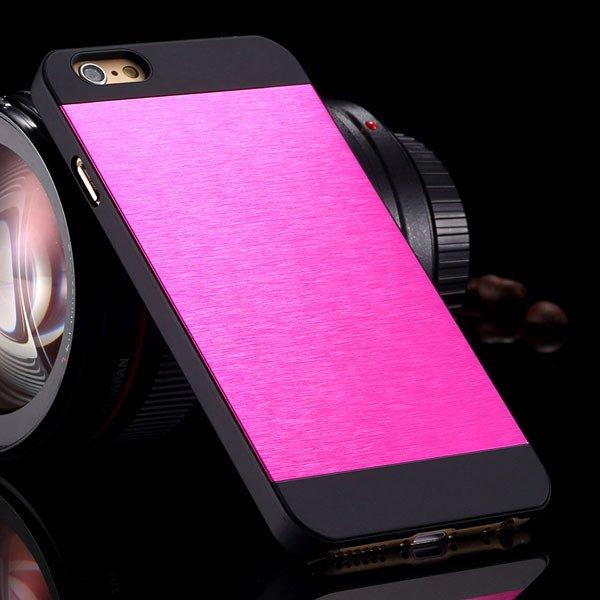 I6 Slim Case Aluminum Metal Brush Back Cover For Iphone 6 4.7Inch  32231887341-10-hot pink