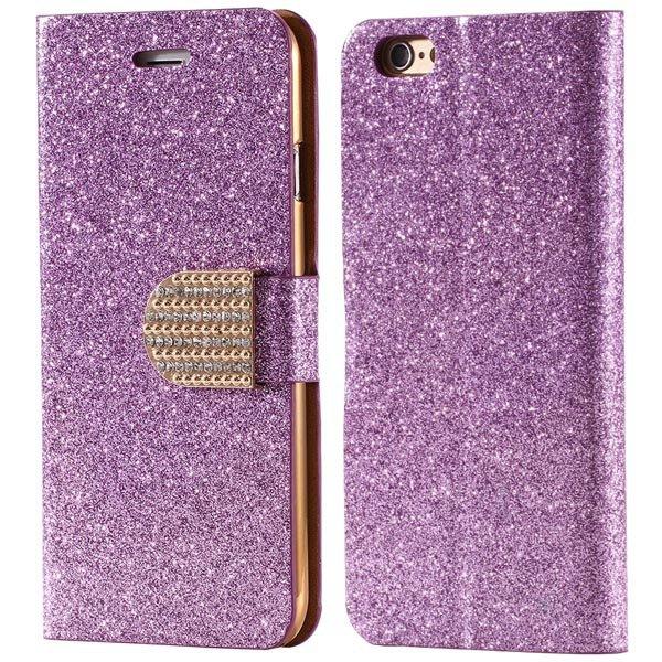 Luxury Bling Diamond Leather Case For Iphone 6 4.7Inch Full Flip C 32246663590-6-purple