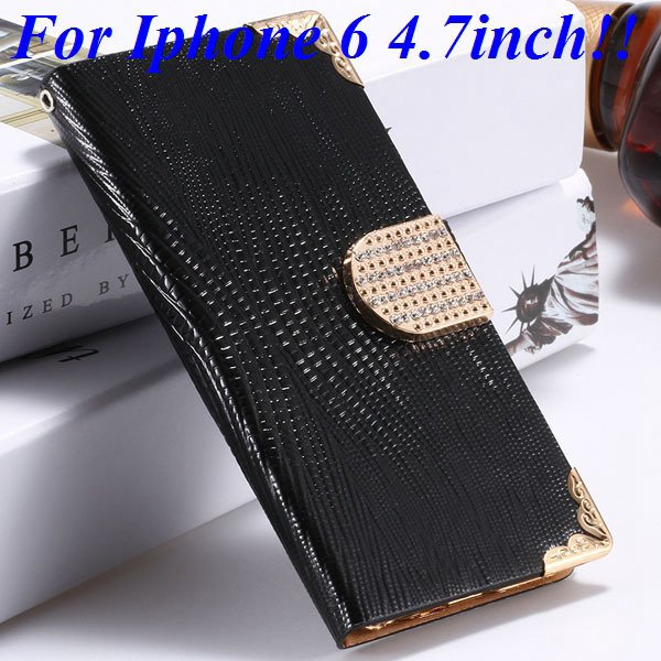 I6 Luxury Bling Diamond Case Flip Wallet Pu Leather Cover For Ipho 32232380276-1-black for iphone 6