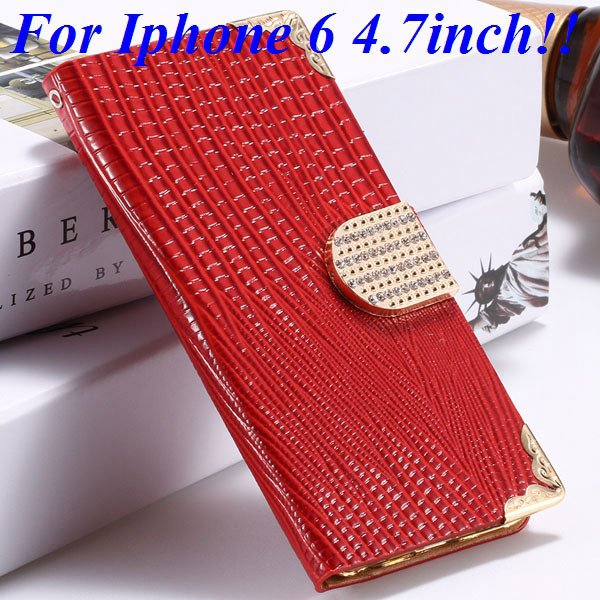 I6 Luxury Bling Diamond Case Flip Wallet Pu Leather Cover For Ipho 32232380276-3-red for iphone 6