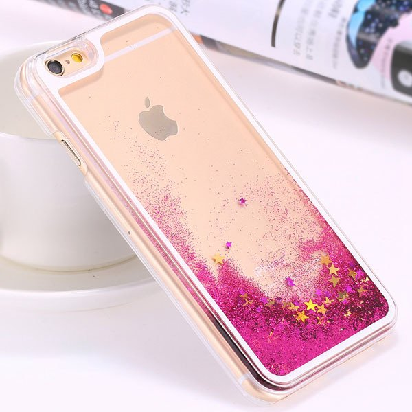 I6 Dynamic Quicksand Back Case Clear Cover Flow With Liquid Fish F 32277186221-1-star rose