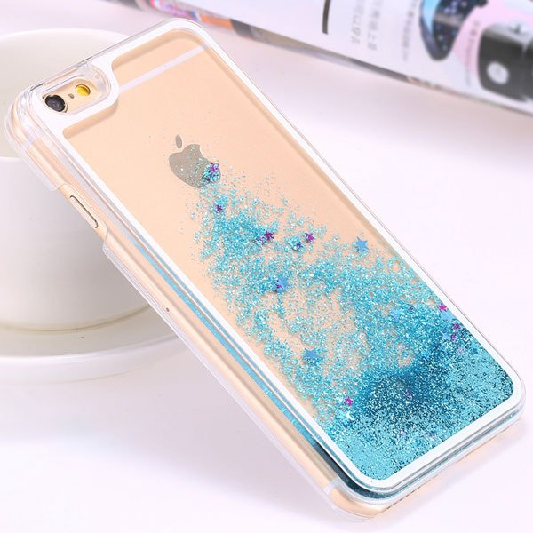 I6 Dynamic Quicksand Back Case Clear Cover Flow With Liquid Fish F 32277186221-6-star blue