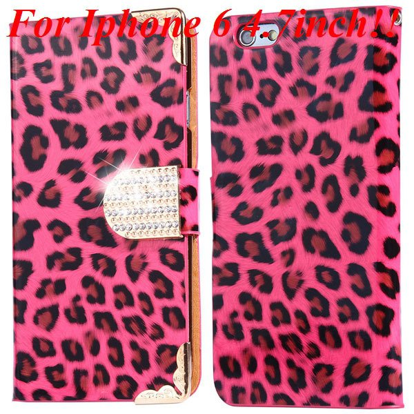 For Iphone 6 Bling Diamond Leather Case Flip Leopard Full Cover Fo 32258215017-5-hot pink for iphone