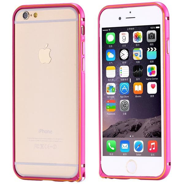 Ultra Thin Metal Frame Bumper For Iphone 6 4.7Inch Slim Bumper Gol 32247866213-4-hot pink