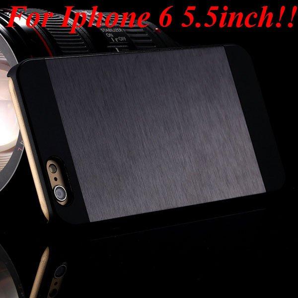 I6/6Plus Aluminum Shiny Metal Brush Hard Cover For Iphone 6 4.7Inc 32232320776-9-black for plus