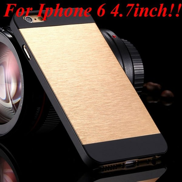 I6/6Plus Aluminum Shiny Metal Brush Hard Cover For Iphone 6 4.7Inc 32232320776-18-gold for iphone 6