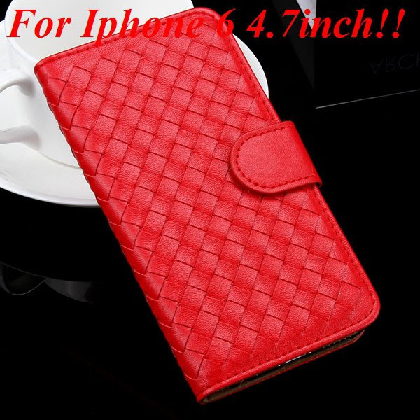 For Iphone 6 Leather Case Flip Weave Full Cover For Iphone 6 4.7In 32257737480-2-red for iphone 6