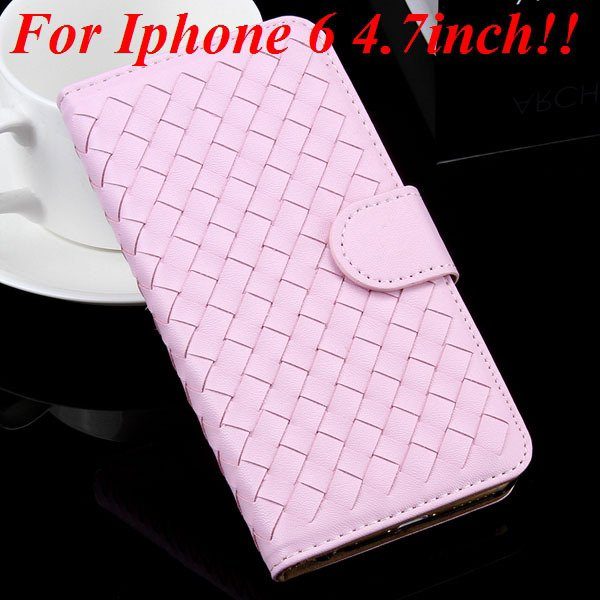 For Iphone 6 Leather Case Flip Weave Full Cover For Iphone 6 4.7In 32257737480-4-pink for iphone 6