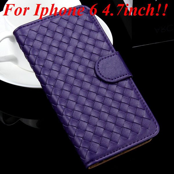 For Iphone 6 Leather Case Flip Weave Full Cover For Iphone 6 4.7In 32257737480-5-purple for iphone 6