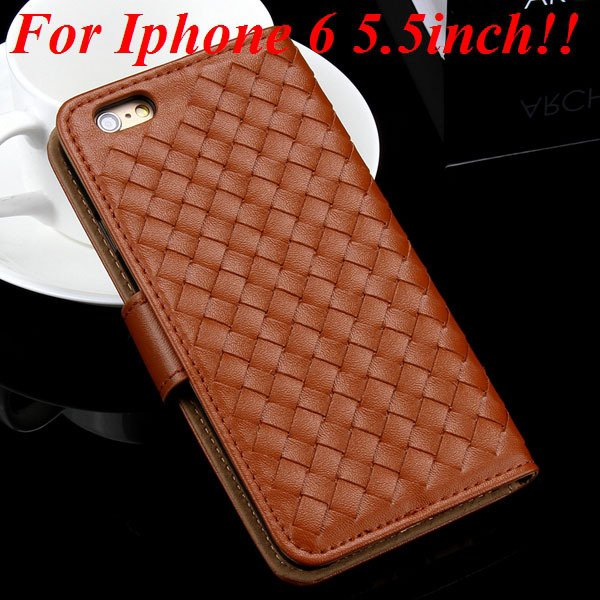 For Iphone 6 Leather Case Flip Weave Full Cover For Iphone 6 4.7In 32257737480-11-brown for plus