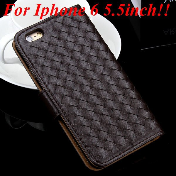 For Iphone 6 Leather Case Flip Weave Full Cover For Iphone 6 4.7In 32257737480-12-coffee for plus