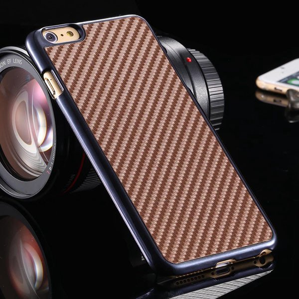 I6 Carbon Fiber Slim Hard Cover For Iphone 6 4.7Inch Back Case Wit 32251706070-6-brown