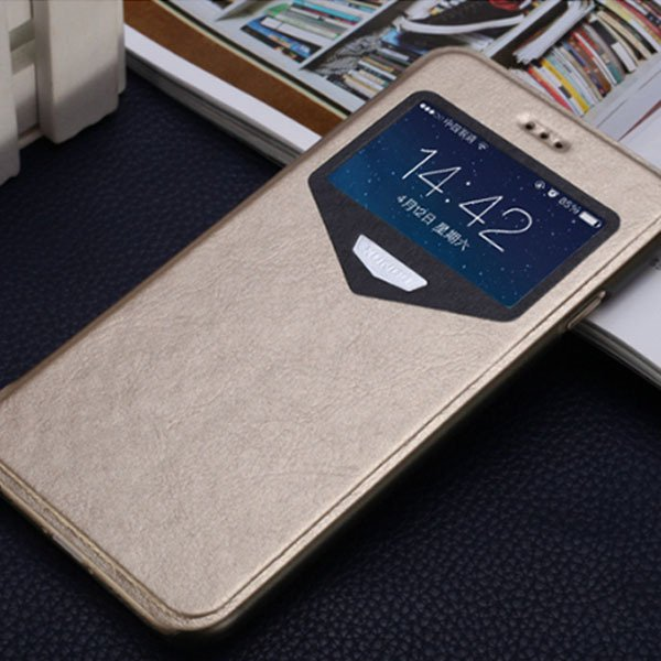 Super Thin Full Cover For Iphone 6 4.7Inch Pu Leather Window View  32216312142-2-gold