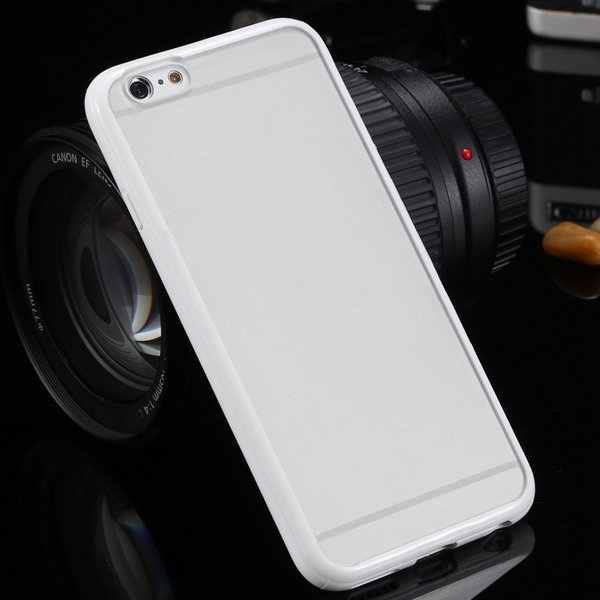 I6 Plus Clear Case Mat Pc + Candy Color Tpu Frame Cover For Iphone 32301763530-3-white