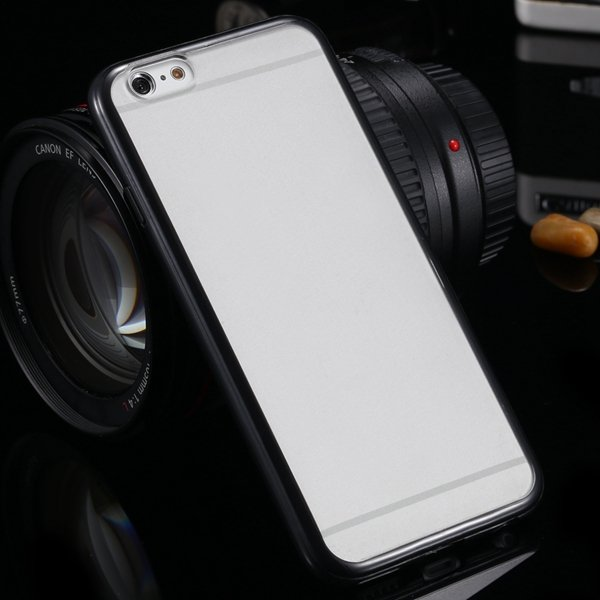 I6 Candy Color Case Fashion Mat Pc + Tpu Frame Clear Cover For Iph 32303226521-1-black