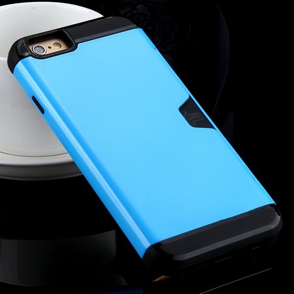 I6 Slim Case Hard Pc + Soft Tpu Back Cover With Card Slot Stand Fo 32275777854-2-sky blue