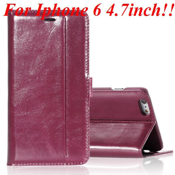 I6 Genuine Leather Case Flip Cover For Iphone 6 4.7Inch Full Pouch 32236273852-6-hot pink