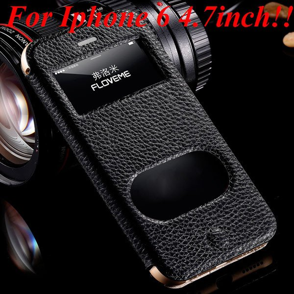 I6/6 Plus Dual Window Case Luxury Genuine Leather Cover For Iphone 32289636912-1-black for iphone 6