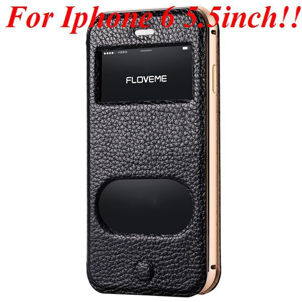 I6/6 Plus Dual Window Case Luxury Genuine Leather Cover For Iphone 32289636912-5-black for plus