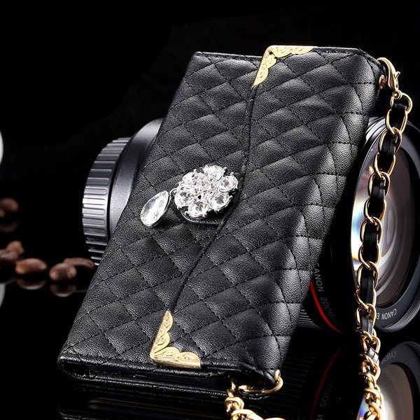 Luxury Crystal Diamond Full Flip Pu Leather Cover For Iphone 6 4.7 32223328318-1-black