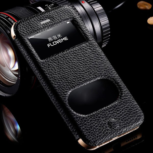 I6 Deluxe Genuine Leather Case Window View Cover For Iphone 6 4.7I 32288707530-1-black