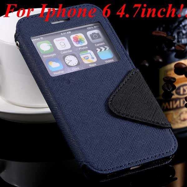 I6 Plus Window Case Pu Leather View Cover For Iphone 6 4.7Inch/5.5 32268160034-1-blue for iphone 6