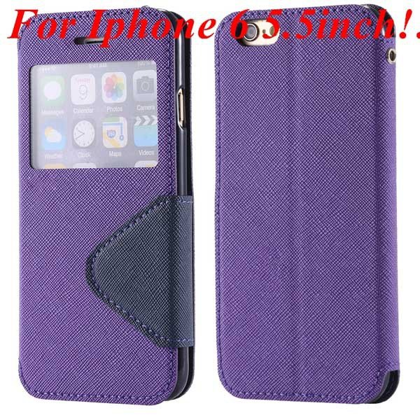 I6 Plus Window Case Pu Leather View Cover For Iphone 6 4.7Inch/5.5 32268160034-9-purple for plus