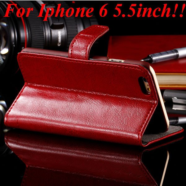 I6 Plus Full Wallet Case For Iphone 6 Plus 5.5Inch Genuine Leather 32236038192-2-red