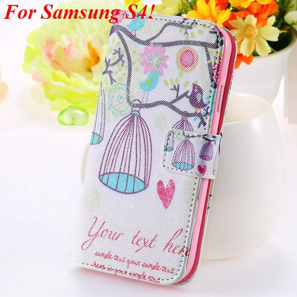 Colorful Mat Pattern Wallet Case For Samsung Galaxy S4 I9500 S5 I9 1925779940-4-s4 bird cage