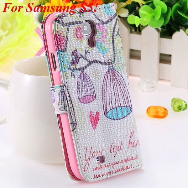 Colorful Mat Pattern Wallet Case For Samsung Galaxy S4 I9500 S5 I9 1925779940-13-S5 bird cage