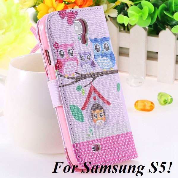 Colorful Mat Pattern Wallet Case For Samsung Galaxy S4 I9500 S5 I9 1925779940-17-S5 owl on tree