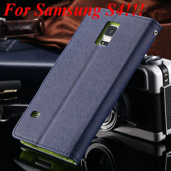 Flip Full Pu Leather Cover Case For Samsung Galaxy S5 I9600 S4 I95 1778570122-1-deep blue for s4