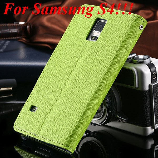 Flip Full Pu Leather Cover Case For Samsung Galaxy S5 I9600 S4 I95 1778570122-4-green for s4