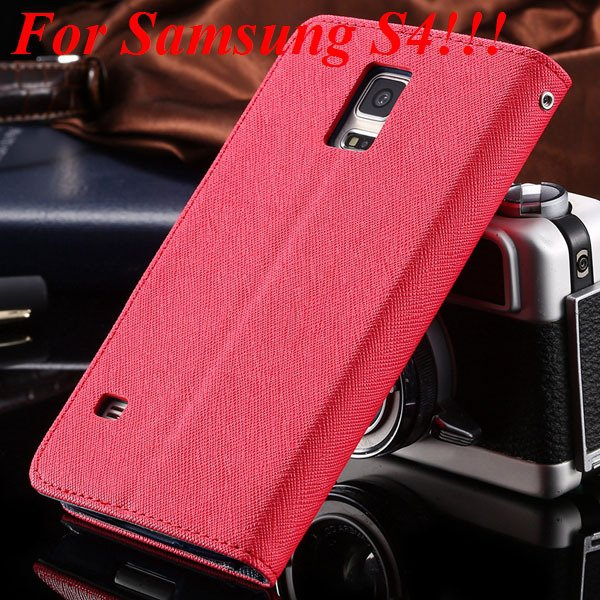Flip Full Pu Leather Cover Case For Samsung Galaxy S5 I9600 S4 I95 1778570122-5-red for s4