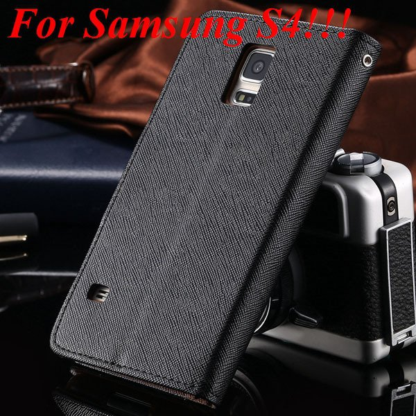 Flip Full Pu Leather Cover Case For Samsung Galaxy S5 I9600 S4 I95 1778570122-10-black  for s4