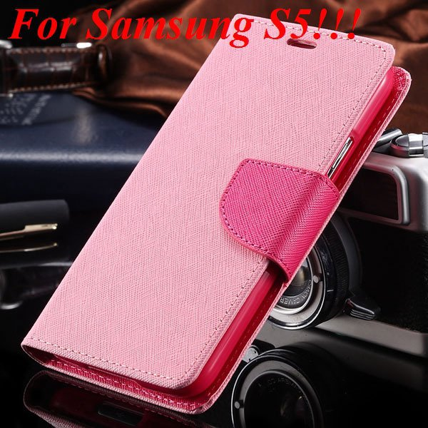 Flip Full Pu Leather Cover Case For Samsung Galaxy S5 I9600 S4 I95 1778570122-11-pink for s5