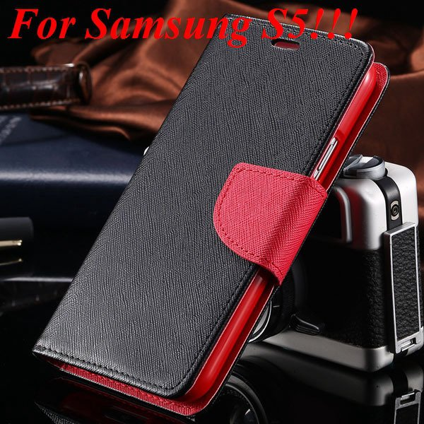 Flip Full Pu Leather Cover Case For Samsung Galaxy S5 I9600 S4 I95 1778570122-14-black red for s5