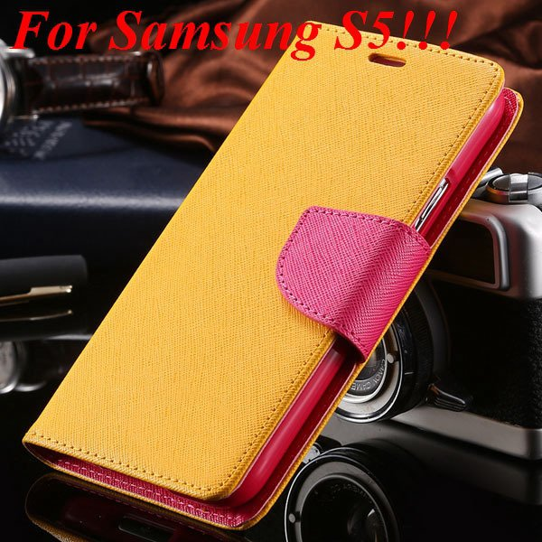 Flip Full Pu Leather Cover Case For Samsung Galaxy S5 I9600 S4 I95 1778570122-19-yellow for s5
